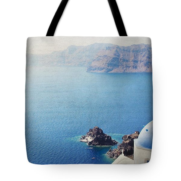 Tote Bag featuring the photograph Seascape - Santorini by Lisa Parrish