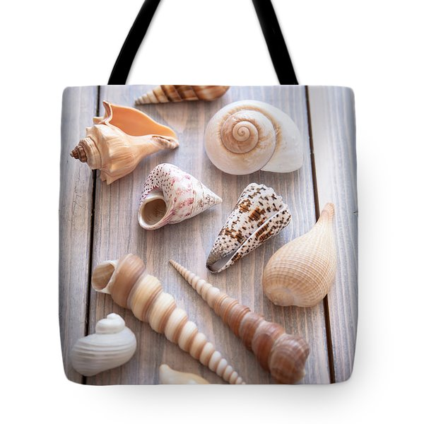 Tote Bag featuring the photograph Seashell Collection by Jan Bickerton