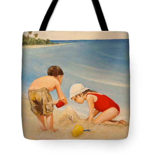 Tote Bag featuring the painting Seashell Sand And A Solo Cup by Alan Lakin