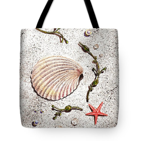 Seashell Sea Star And Pearls On The Beach Tote Bag by Irina Sztukowski