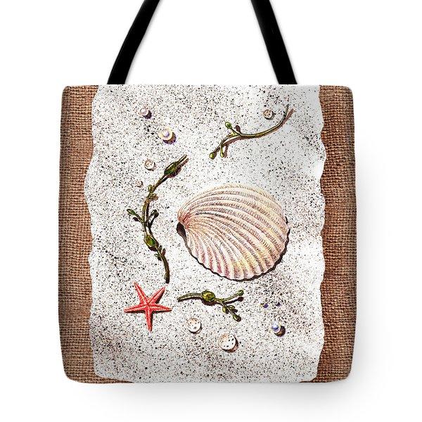 Seashell With Pearls Sea Star And Seaweed  Tote Bag by Irina Sztukowski