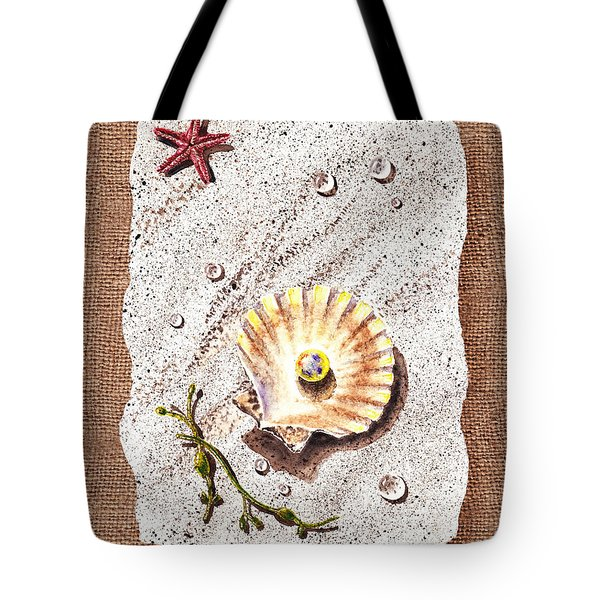 Seashell With The Pearl Sea Star And Seaweed  Tote Bag by Irina Sztukowski