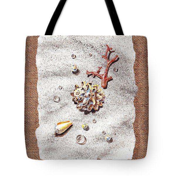 Seashells Coral Pearls And Water  Drops Tote Bag by Irina Sztukowski