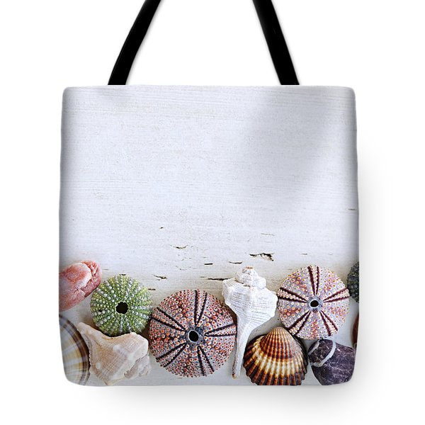 Seashells On Wood Background Tote Bag