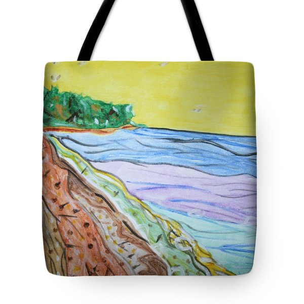 Tote Bag featuring the painting Seashore Bright Sky by Stormm Bradshaw