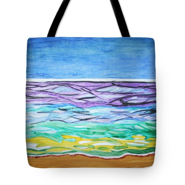 Tote Bag featuring the painting Seashore Blue Sky by Stormm Bradshaw