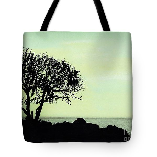 Tote Bag featuring the drawing Seashore Silhouette by D Hackett