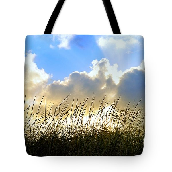 Seaside Grass And Clouds Tote Bag