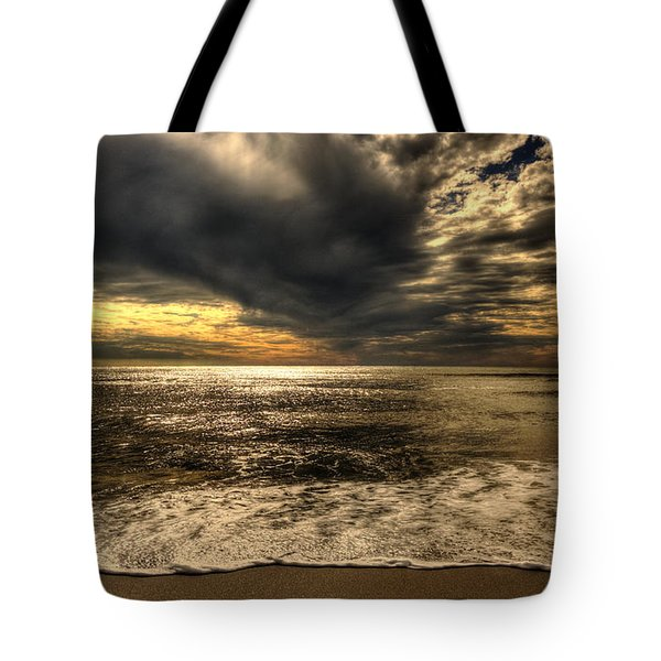 Tote Bag featuring the photograph Seaside Sundown With Dramatic Sky by Julis Simo