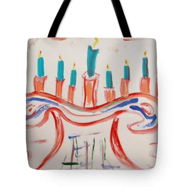 Tote Bag featuring the painting Season Of The Lights by Mary Carol Williams