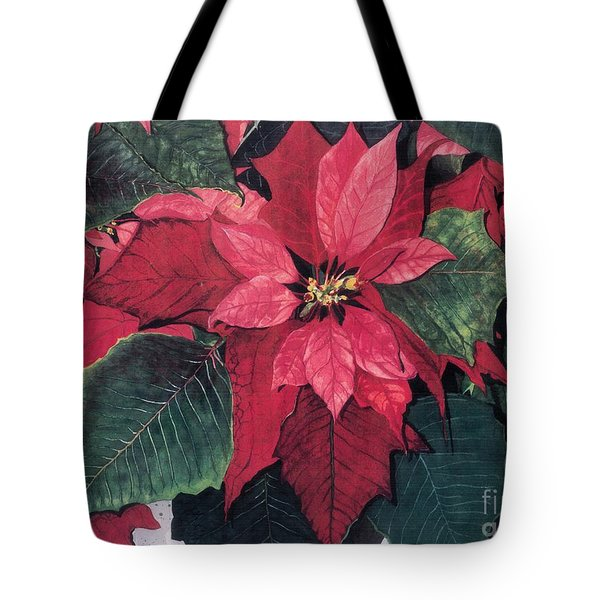Tote Bag featuring the painting Seasonal Scarlet 2 by Barbara Jewell