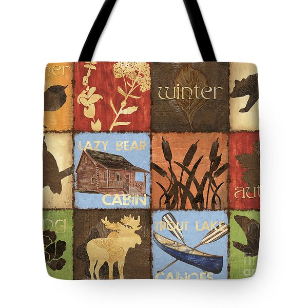 Seasons Lodge Tote Bag by Debbie DeWitt