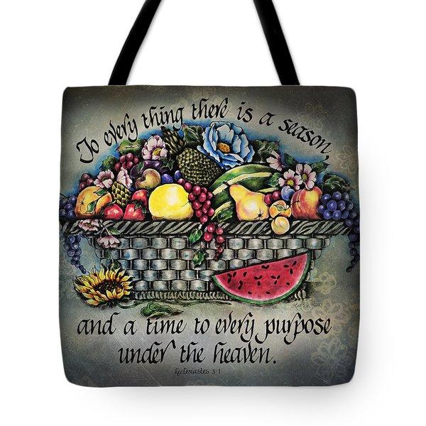 Seasons Scripture Tote Bag by La Rae  Roberts