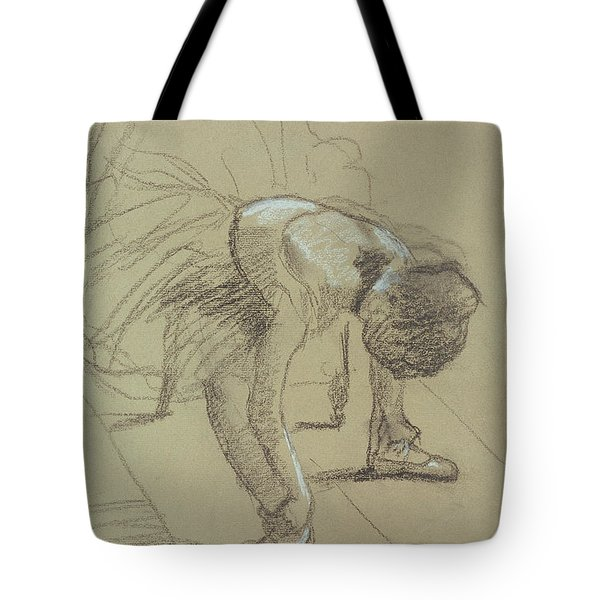 Seated Dancer Adjusting Her Shoes Tote Bag by Edgar Degas
