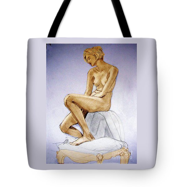 Tinted Figure Drawing Of A Seated Female Nude Dreaming Tote Bag