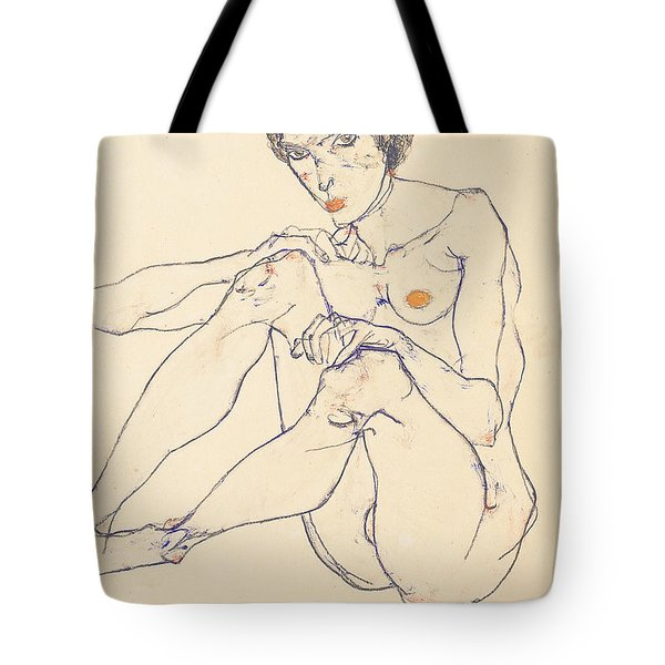 Seated Female Nude Tote Bag by Egon Schiele