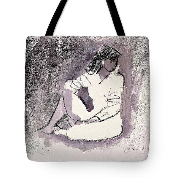 Seated Figure, 1999 Wax Crayon And Wash On Paper Tote Bag