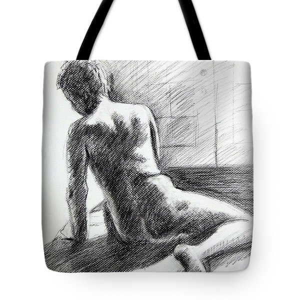 Seated Male Back Tote Bag