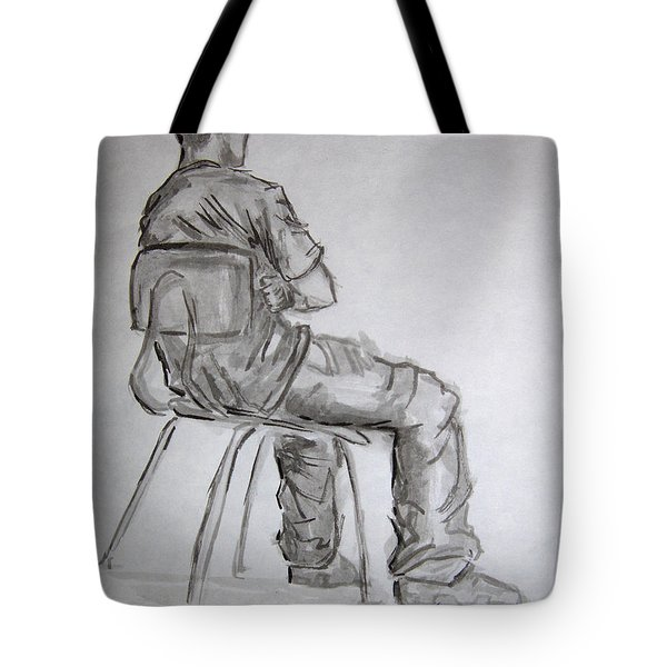 Seated Man In Ball Cap Tote Bag by Jeffrey Oleniacz
