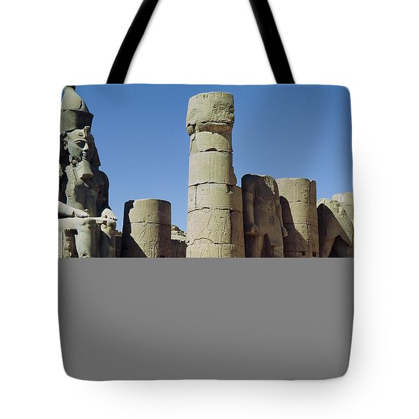 Seated Statue Of Ramesses II C.1279-1213 Bc In The Peristyle Court, New Kingdom Photo Tote Bag