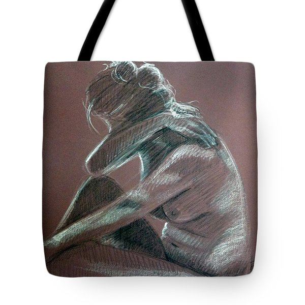 Seated Woman Side Light Tote Bag