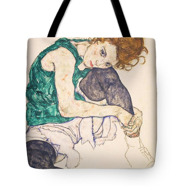 Seated Woman With Legs Drawn Up. Adele Herms Tote Bag by Egon Schiele