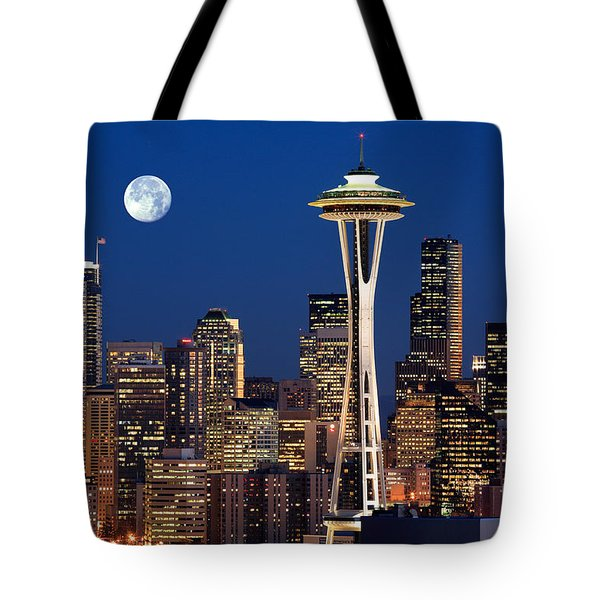Seattle At Full Moon Tote Bag by Inge Johnsson
