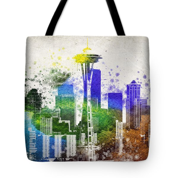 Seattle City Skyline Tote Bag by Aged Pixel