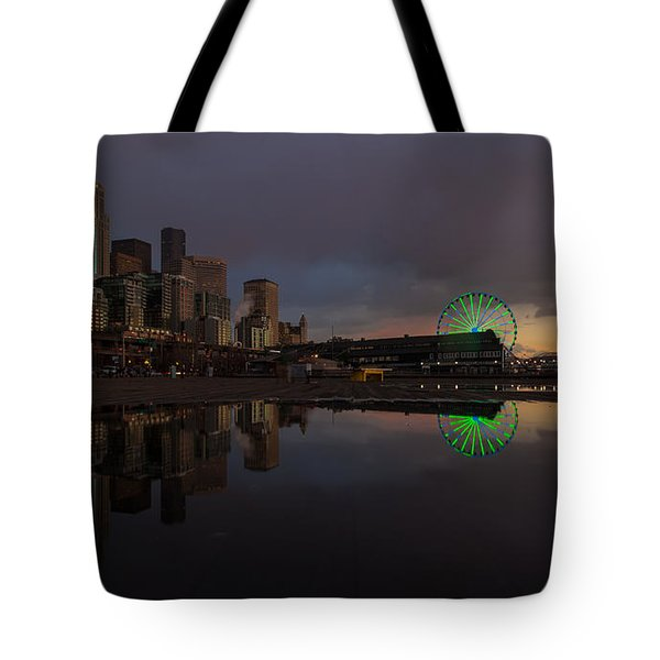 Seattle Cityscape And The Wheel Tote Bag by Mike Reid
