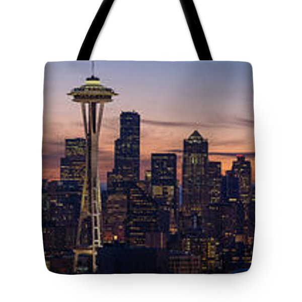 Seattle Cityscape Morning Light Tote Bag by Mike Reid