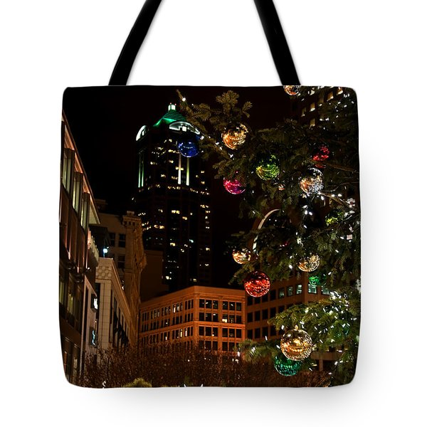 Seattle Downtown Christmas Time Art Prints Tote Bag