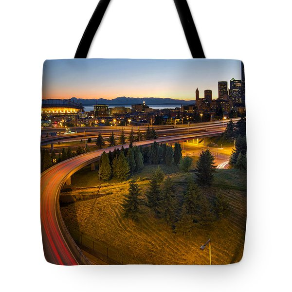 Tote Bag featuring the photograph Seattle Downtown Highway Traffic Light Trails by JPLDesigns
