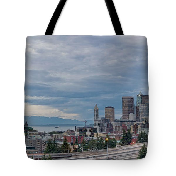 Tote Bag featuring the photograph Seattle Downtown Skyline And Freeway Panorama by JPLDesigns
