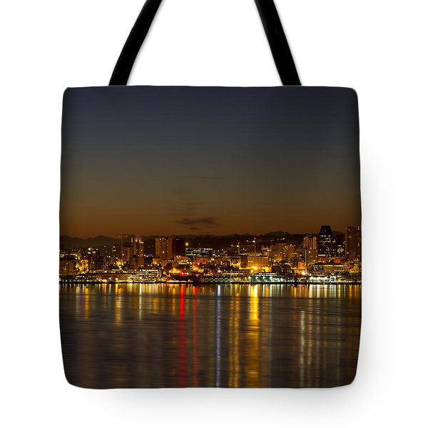 Tote Bag featuring the photograph Seattle Downtown Skyline Reflection At Dawn by JPLDesigns