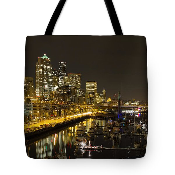 Tote Bag featuring the photograph Seattle Downtown Waterfront Skyline At Night Reflection by JPLDesigns