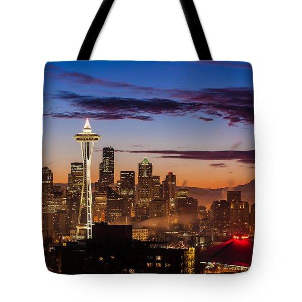 Seattle Fog Sunrise Tote Bag