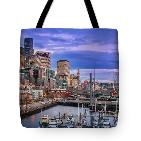 Seattle Great Wheel Tote Bag by Inge Johnsson