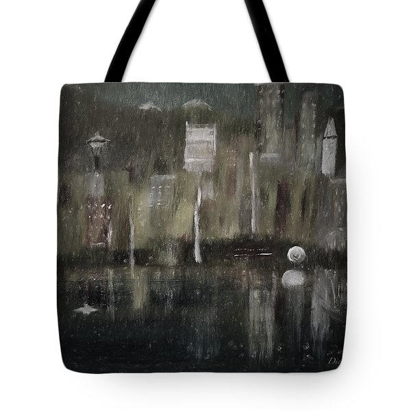 Seattle In The Rain Cityscape Tote Bag