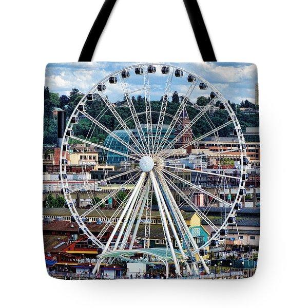 Seattle Port Ferris Wheel Tote Bag