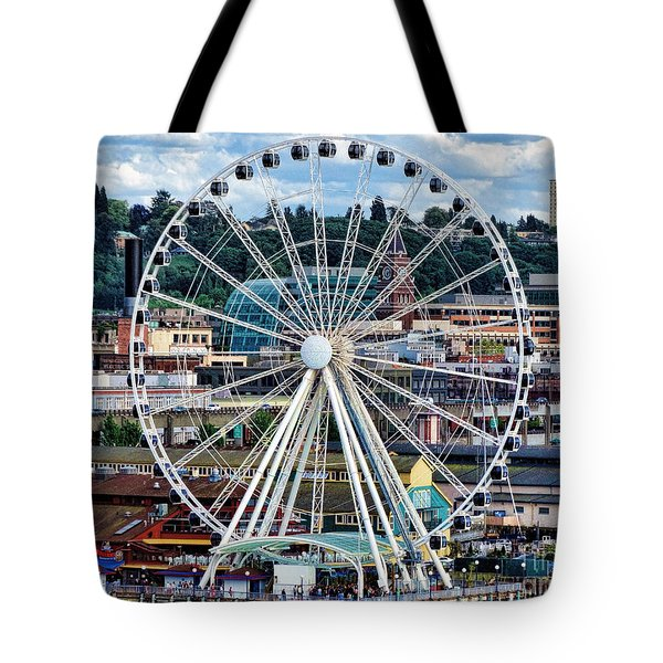 Seattle Port Ferris Wheel Tote Bag