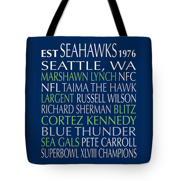 Tote Bag featuring the digital art Seattle Seahawks by Jaime Friedman