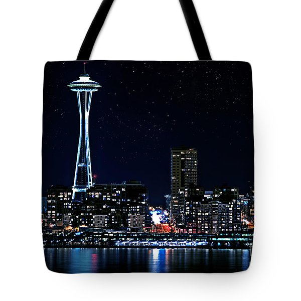 Seattle Skyline At Night With Full Moon Tote Bag