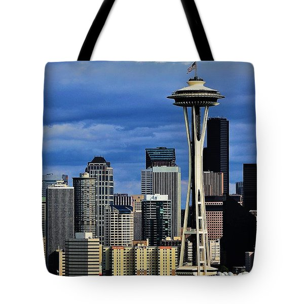 Seattle Skyline Tote Bag by Benjamin Yeager