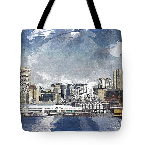 Seattle Skyline Freeform Tote Bag