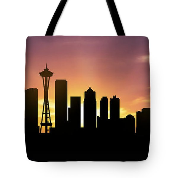 Seattle Skyline Panorama Sunset Tote Bag by Aged Pixel