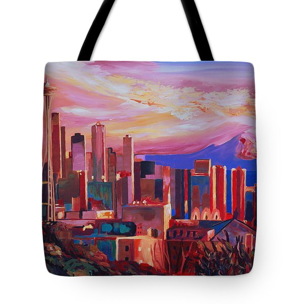 Seattle Skyline With Space Needle And Mt Rainier Tote Bag by M Bleichner