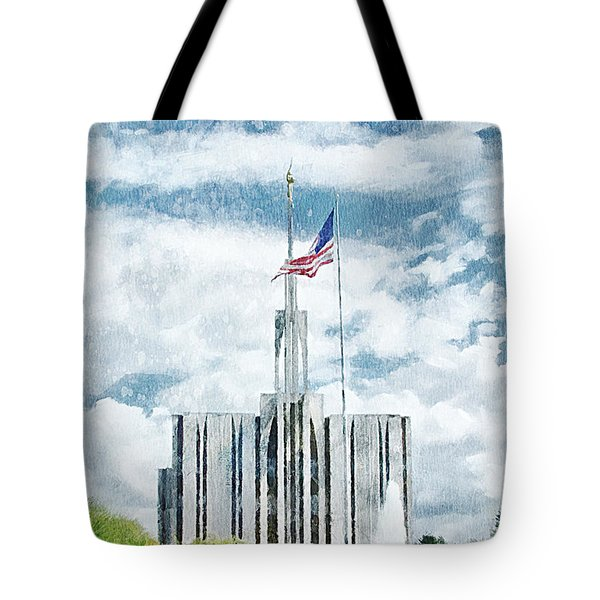 Tote Bag featuring the painting Seattle Temple 1 by Greg Collins