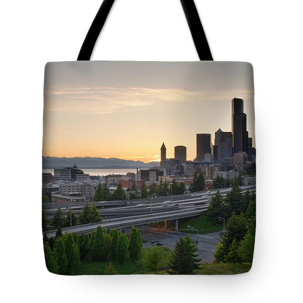 Tote Bag featuring the photograph Seattle Washington Downtown City Sunset by JPLDesigns