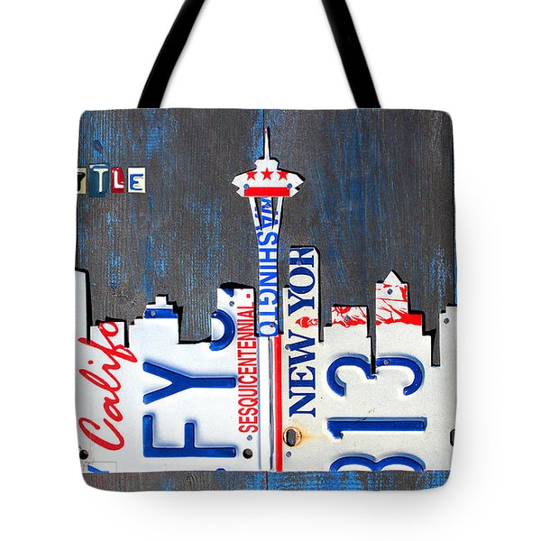 Seattle Washington Space Needle Skyline License Plate Art By Design Turnpike Tote Bag by Design Turnpike
