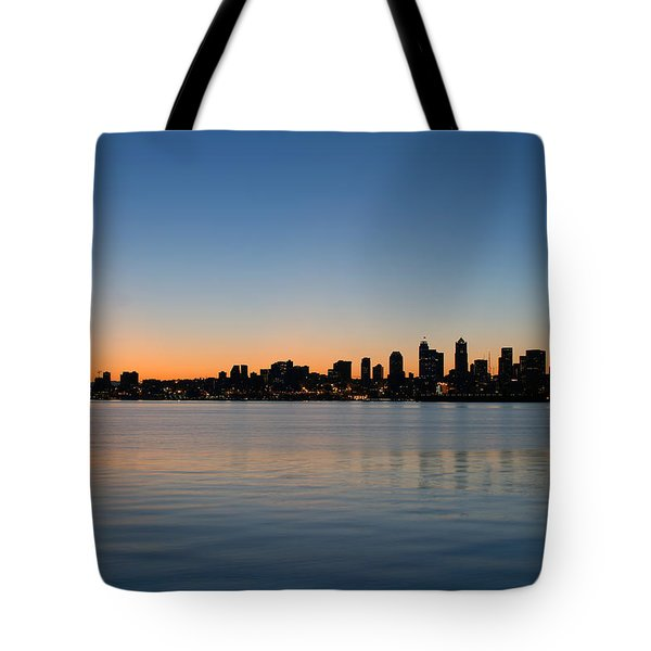 Tote Bag featuring the photograph Seattle Washington Waterfront Skyline At Sunrise Panorama by JPLDesigns